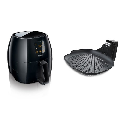 Philips Digital Airfryer, X-Large, the original Airfryer with Rapid Air Technology,  Black, HD9240/94 and Philips HD9911/90 Airfryer Grill Pan for Avance, X-Large, Black Bundle