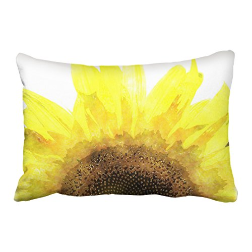 Emvency Pillowcases Modern Sunflower Watercolor Girly Yellow Pillow Cover Polyester 20 x 30Inch Queen Size Rectangle Cushion Decorative Pillowcase With Hidden Zipper Home Sofa (Mid Century Modern Halloween Decorations)