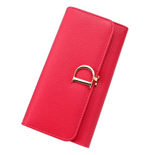 Duo La Womens Leather Clutch Card Holder Ladies Purse Clutch Long Wallet D-Shape Magnetic Buckle (Red)