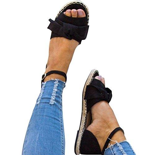 Bow Tie Open Toe (XMWEALTHY Women's Summer Flat Sandals Cute Bow Open Toe Espadrilles Shoes Black US 8.5)