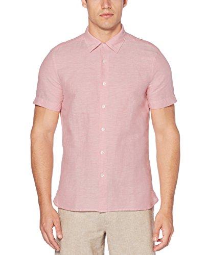 Perry Ellis Men's Short Sleeve Solid Linen Cotton Button-Up Shirt, Himalayan Pink, Large