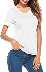 LouKeith Women's Short Sleeve T Shirts V Neck Cotton Shirts Casual Tops Tees Specification: 100% Brand New Brand: LouKeith Collar: V Neck Sleeve: Short Sleeve Fit Style: Slimming Fit T Shirts Style: Casual, Basic This is our size for your ref...