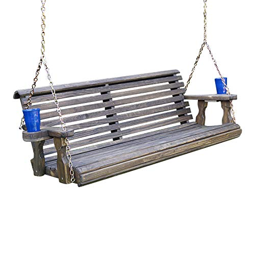 Amish Heavy Duty 800 Lb Roll Back Treated Porch Swing with Hanging Chains and Cupholders (5 Foot, Dark Walnut Stain)