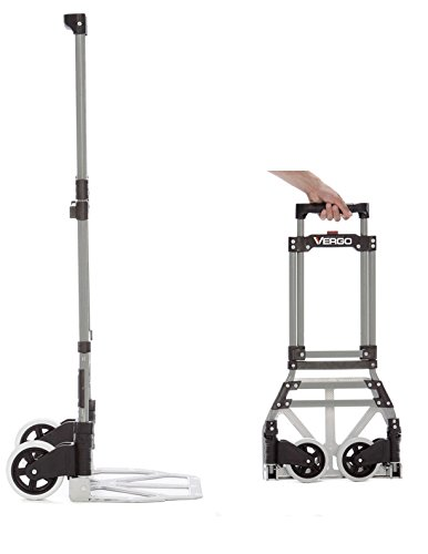 Vergo S300S Industrial Steel Folding Hand Truck Dolly, 150 lb Capacity, Silver
