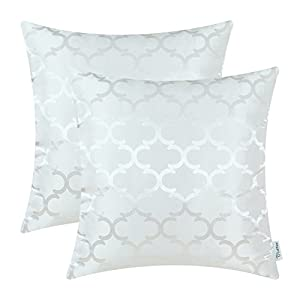 CaliTime Pack of 2 Cushion Covers Throw Pillow Cases Shells for Home Sofa Couch Modern Shining & Dull Contrast Quatrefoil Accent Geometric 20 X 20 Inches White