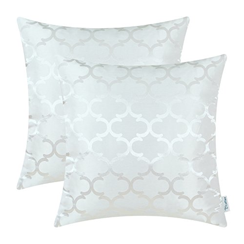 Pack of 2 CaliTime Cushion Covers Throw Pillow Cases Shells for Home Sofa Couch, Modern Quatrefoil Accent Geometric, 20 X 20 Inches, White ($100 Cheap For Sale Under Couches)