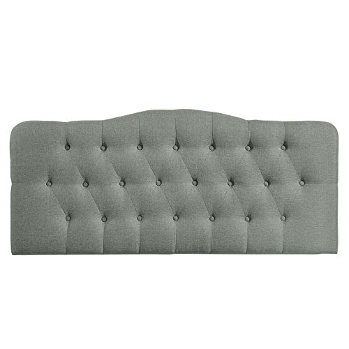 Modway Annabel Upholstered Tufted Button Fabric Headboard Queen Size In Gray by Modway (Image #3)