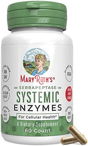 Serrapeptase Enzymes by MaryRuth - Serrapeptase High Potency Sinus Pills - Inflammation, Pain, Allergies - Delivered by a Plant Based, Vegan Capsule - Enteric Coated - 60 Count