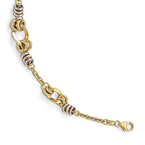 - Jewel Tie 14k Gold Tri-color Polished Fancy Link Bracelet 7.5