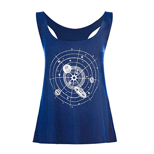 (Hipster Galaxy Pattern Tank/Vest Top for Women Casual Loose Fit Sleeveless T-Shirt for Running Exercise Jogging Yoga Tee Navy)