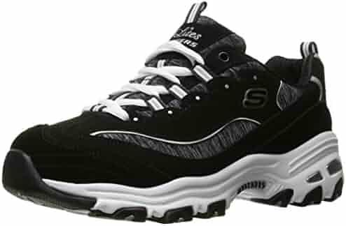 Skechers Sport Women's D'Lites Memory Foam Lace-up Sneaker,Me Time Black/White,9 W US