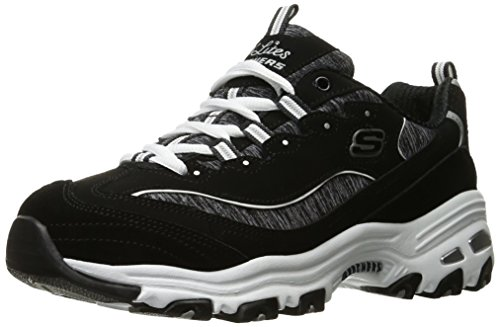 Skechers Women's D'Lites ME TIME Wide Fashion Sneaker, Black/White, 7.5 W US ()