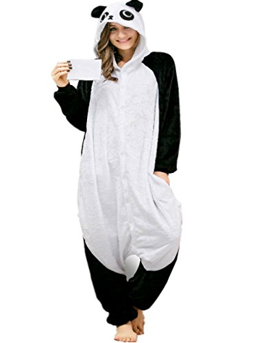 Panda Costume Onesie Pajamas for Girls Teens Kids Women Adult Animal Onsie 10-12]()