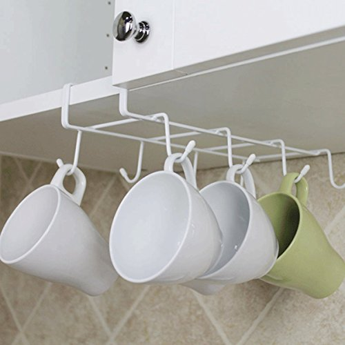 fashionclubs 8 hook under shelf mugs cups wine glasses storage drying holder rack,cabinet hanging organizer rack for ties and belts