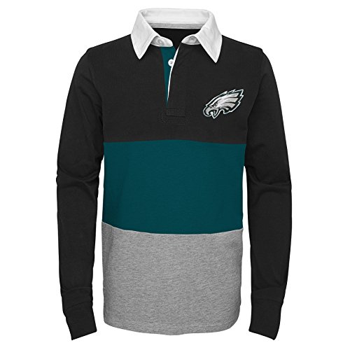 Outerstuff NFL Philadelphia Eagles Youth Boys State of Mind Long Sleeve Rugby Top Black, Youth X-Large(18)