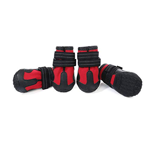 (OTENGD 4PCS Dog Boots Pet Waterproof Shoes Water Resistant Rugged Anti-Slip Sole Black Keep It Clean Prevent Paw Injuries Ventilation for Medium Dogs Red,M)