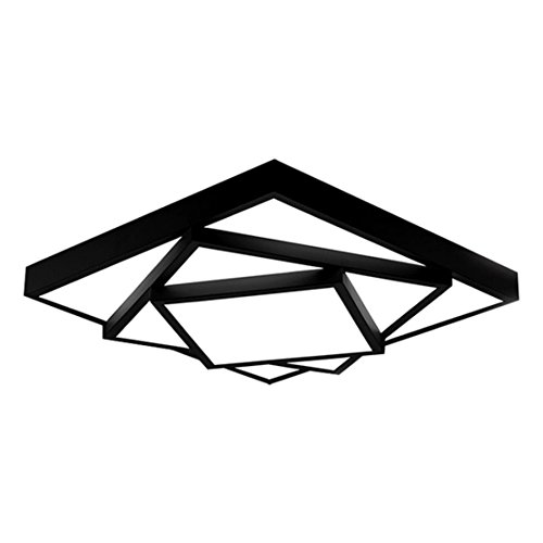 SOUTHPO Creative Rubik's Cube Ceiling Light Fixture Flush Mount Modern Geometric Square Ceiling Lamps for Living Room Multi-Layer Iron Acrylic LED Ceiling Lighting Bedroom White Light 24W Black (Cube Track Light)