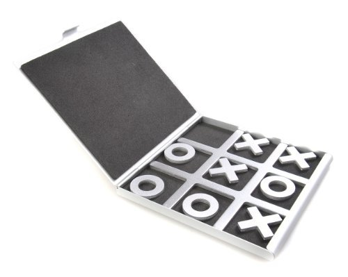 Attica Alu Series: Tic-Tac-Toe - in aluminium box, travel set, game pieces with X & O, playing board 10,5cm x 10cm x 0,6cm (XY008P US) by Quantum Abacus by Quantum Abacus
