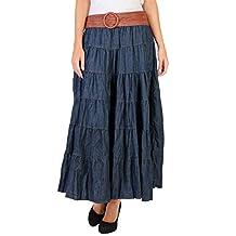 KRISP Womens Tired Bohemian Vintage Denim Belted Jersey Gypsy Maxi Skirt Pleated