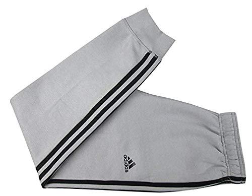 - adidas Mens Essential Cotton Fleece Jogger Sweatpants (Light Grey/Black, Large)