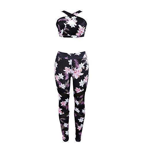 Sumoleo Womens Floral Athletic Clothing Set Yoga Vest Bra+Leggings Pants Fitness Workout Tracksuits Black M