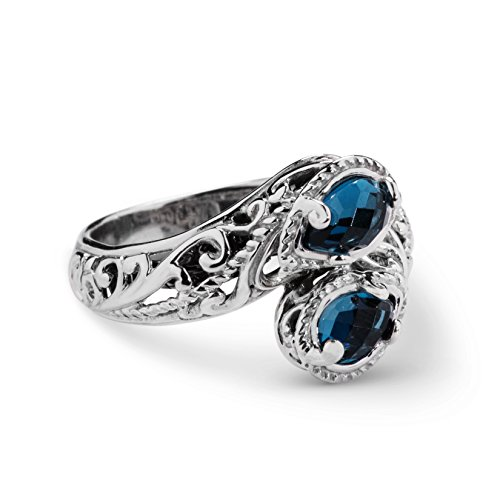 Carolyn Pollack Sterling Silver London Blue Topaz Bypass Ring