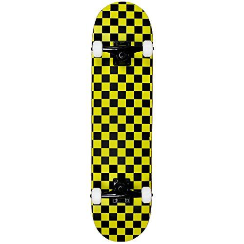 - Krown Rookie Checker Skateboard, Black/Yellow, 7.75