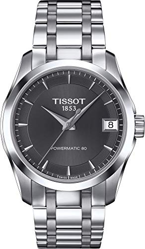 (Tissot Couturier Powermatic 80 Womens Automatic Watch - Analog Grey Face with Second Hand Date Sapphire Crystal 80 Hour Power Reserve Watch - Swiss Made Stainless Steel Ladies Watch T0352071106100)