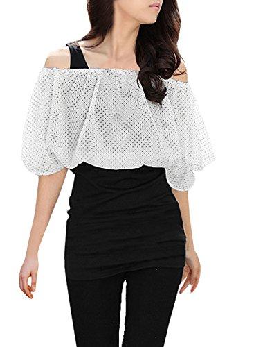 sourcingmap® Damen Falsch Zwei Stücke Punkte Dehnbar Freizeit Tunika-shirt - schwarz,weiß, Damen, XS (US 2)