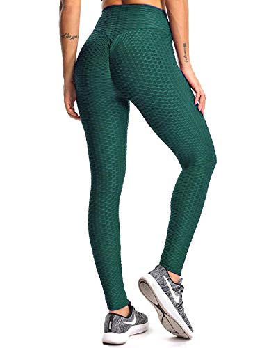 16c38bd7ee Fittoo Women's Honeycomb Ruched Butt Lifting High Waist Yoga Pants Chic  Sports Stretchy Leggings Peacock Green
