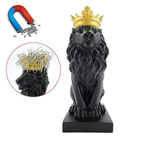 Artgenius 7.3IN Royal King Crown Lion Statue Magnetic Paper Clip Dispener,Paper Clip Holder,Office Desk Accessory with Magnet (Black)