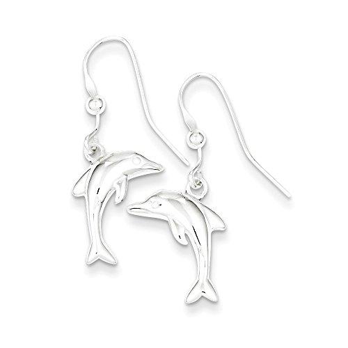 Sterling Silver Polished Dolphin Dangle Shepherd Hook Earrings Length 30mm (Sterling Silver Dangling Dolphin)