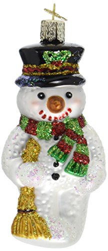 Old World Christmas Snowman with Broom Glass Blown Ornament