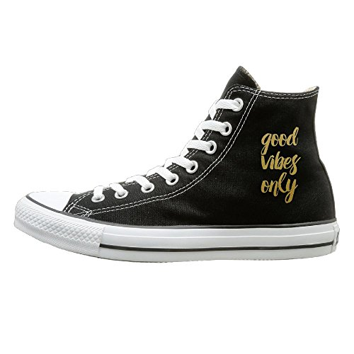 Hilo Canvas Shoes Gold Good Vibes Only Hi-Top Unisex Canvas Sneaker- Season Lace Ups Shoes Casual Trainers Men And Women 36 (Bass Canvas Jeans)