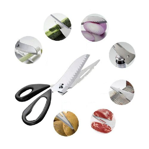 5-In-1 Multipurpose Stainless Steel Kitchen Scissor, Universal Stainless steel Food Scissor, Slicer, Vegetable chopper, Kitchen knife, Cutter, Dicer for Vegetable, Meat and Cheese.