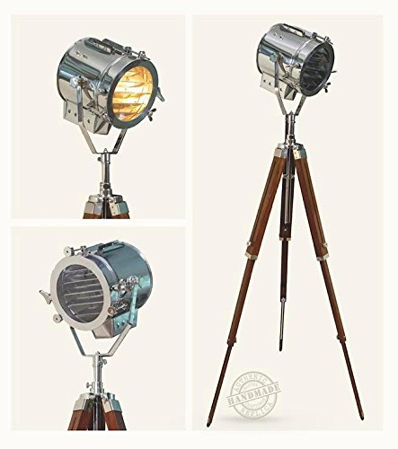 Thor Vintage Search Spotlight Spot Lamp With Classical Brown Tripod Home Décor