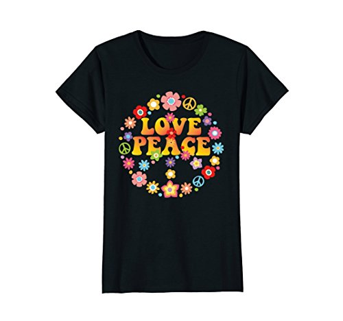 60s 70s Clothing - Womens PEACE SIGN LOVE T Shirt 60s 70s Tie Die Hippie Costume Shirt Large Black