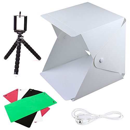 FOME Photo Light Box, Foldable & Portable Photo Lighting Studio Kit Mini Photo Shooting Tent with Light 8.8x9.6x9.8in Photo Studio Box with 4 Colors Backdrops Phone Tripod Switch USB Cable and Pouch