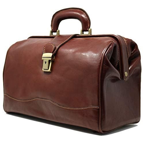 Floto Luggage Italian Ciabatta Doctor Handbag, Vecchio Brown, Small