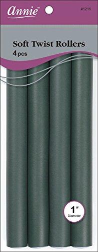 Annie Soft Twist Rollers, Dark Green, 4 Count