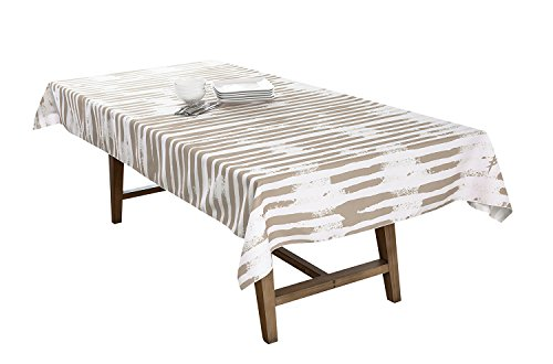 BottleCloth Mod Stripe Premium Tablecloth, Easy Clean, Spill Resistant, and Washable. Made from 100% Recycled Materials. Assorted Colors and Sizes. (60
