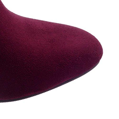 AIYOUMEI Damen Winter Nubukleder Stiletto High Heels Stiefeletten mit 8.5cm Absatz Elegant Kurzschaft Stiefel Rot