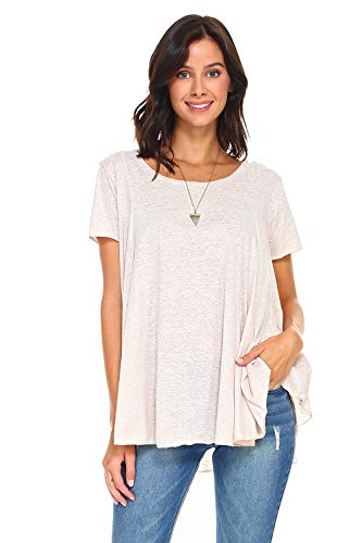 Simplicitie Women's Short Sleeve Loose Fit Flare Flowy T Shirt Tunic Top - Regular and Plus Size - Made in USA (Medium, Oatmeal Heather)