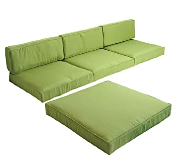 Outsunny 5pc Outdoor Sofa / Chaise Lounge Replacement Cushion Covers   Green