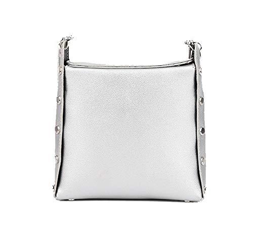 WeiPoot Women's Shopping Pu Bags Casual Crossbody Bags,EGHBG219724,Silver by WeiPoot