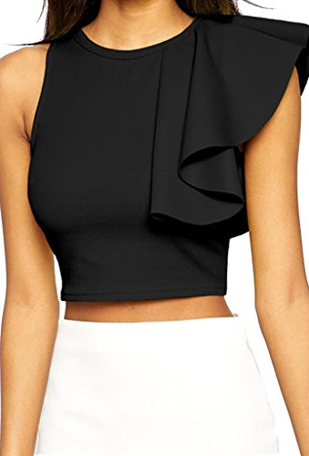ZKESS Women's Cocktail Club One-shoulder Ruffle Crop Top Medium Size - One Ruffle Top Shoulder