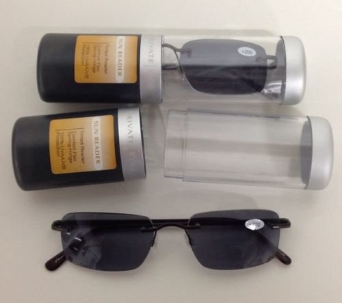 2 PAIRS PRIVATE EYES COMFORT FLEX SUN READER GLASSES W CASE 2.00 STRENGTH - Magnivision Readers Sun