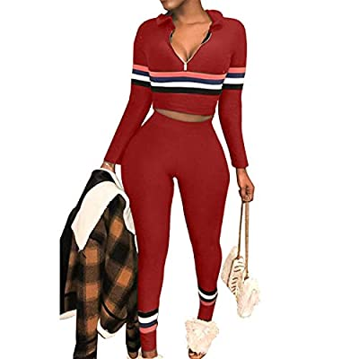 Sexy 2 Piece Outfits for Women Tracksuits Stripe Sweatsuit Long Pants Set Jumpsuit