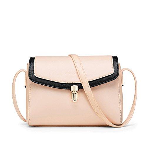 JIUTE Paquete Bolsas Pequeñas Versión Coreana Femenina de la Bolsa de Hombro Salvaje Bolso Mensajero de Piel Suave atmosférica Simple de la Manera (Color : Black) Pink