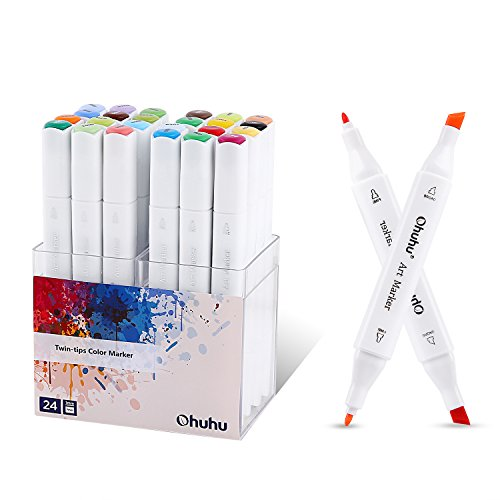 Ohuhu 24 Colors Dual Tips Art Sketch Twin Permanent Marker Pens Highlighters with Carrying Case for Drawing Coloring Highlighting and Underlining